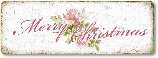 Item 05114 Shabby Chic Pink Christmas Rose Sign