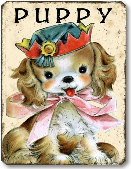 Item 10102 Vintage Style Children's Puppy Dog Plaque