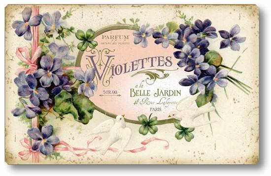 Item 1505 Victorian Style Violets and Doves Perfume Label Plaque