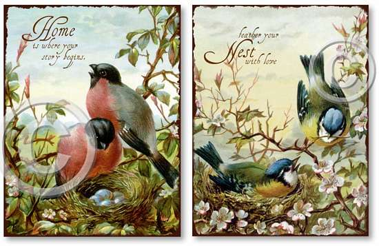 Item 257 Nesting Birds Plaques Set of 2