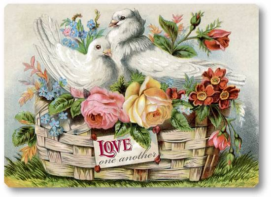 Item 44 Victorian Doves Roses Plaque