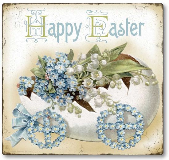 Item 60 Shabby Chic Vintage Style Easter Egg Plaque