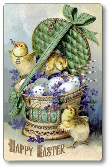 Item 736 Vintage Victorian Style Easter Basket Plaque