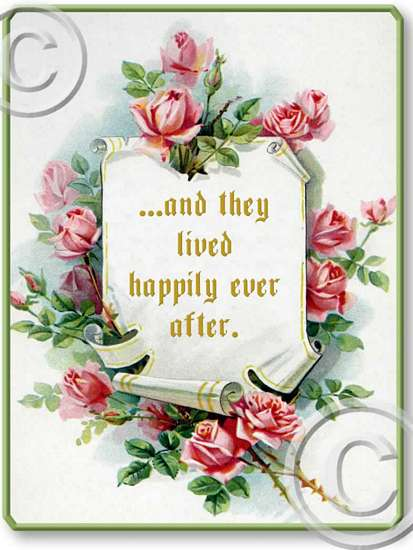 Item 80608 Pink Roses Happily Ever After Plaque