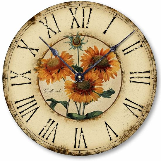 Item C1120 Vintage Style French Sunflower Clock