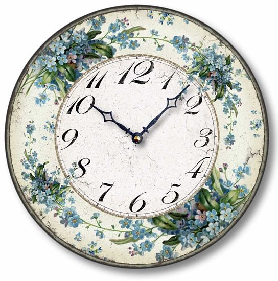 Item C1124 Vintage Style 12 Inch Forget Me Nots Clock