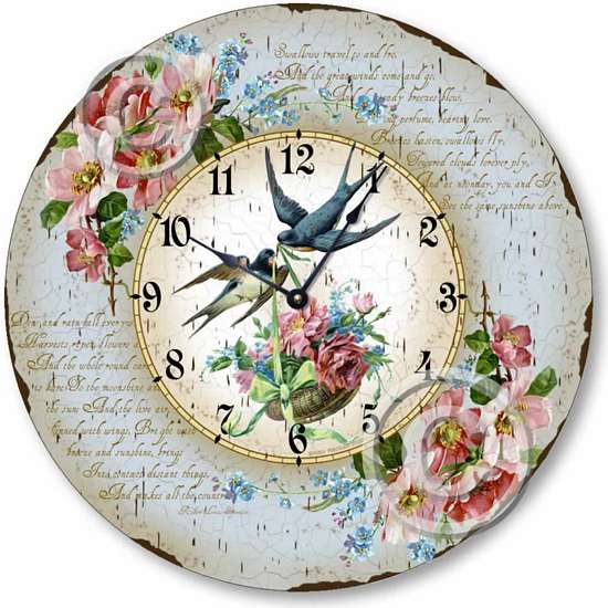 Item C1607 Vintage Victorian Style Birds and Flowers Clock