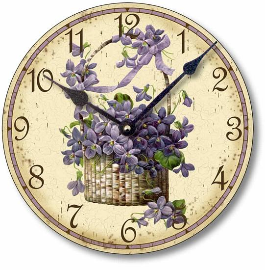 Item C6018 Victorian Style Basket of Violets Clock