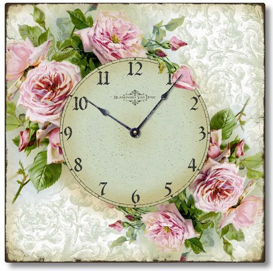 Item C6120 Square Pink Roses Clock