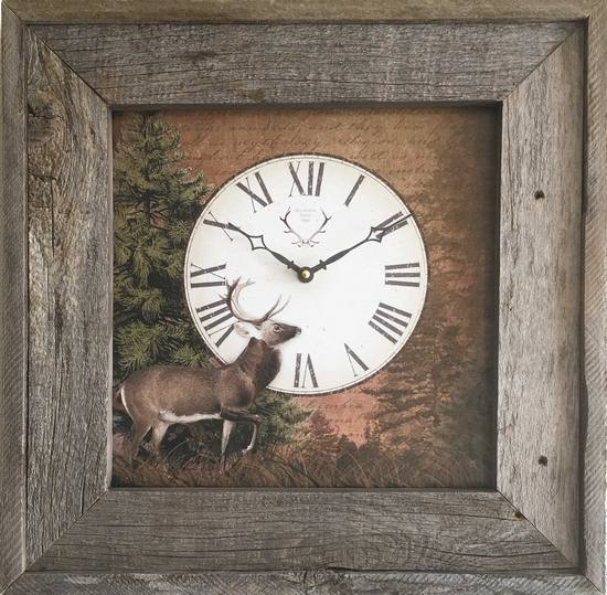 Item C7305F Reclaimed Wood Frame Deer Clock