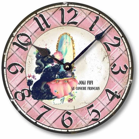 Item C9107 Vintage Style French Poodle Clock