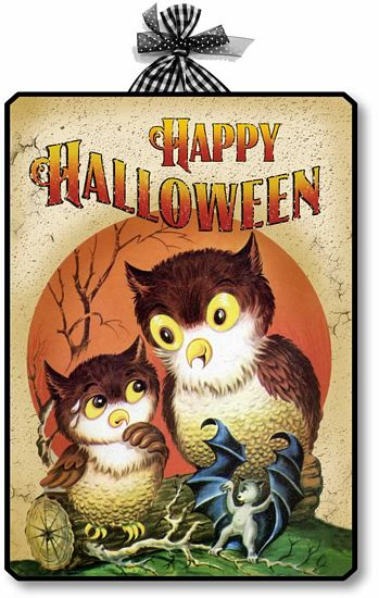 Item 10011 Vintage Style Halloween Owls Plaque