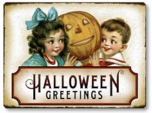 Item 05007 Victorian Style Children Halloween Plaque