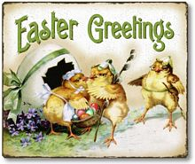 Item 09125 Vintage Style Easter Chicks Plaque
