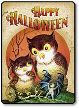 Item 10011 Classic Retro Halloween Owls Plaque