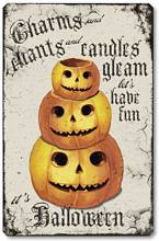 Item 10017  Vintage Style Halloween Pumpkin Plaque