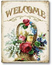 Item 10107 Welcome Vintage Floral Plaque