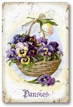 Item 112707 Pansies in Basket Plaque