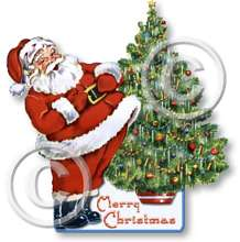 Item 12261 Santa and Christmas Tree Cut Out Plaque