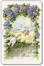 Item 128 Victorian Doves and Wisteria Plaque