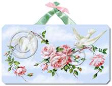 Item 2191 Doves Pink Cottage Roses Plaque
