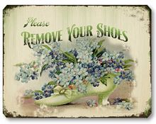 Item 2405 Vintage Victorian Remove Shoes Sign