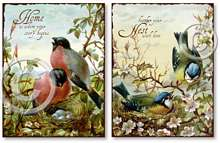 Item 257 Victorian Bird Nesting Set of 2 Plaques