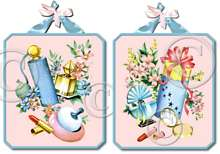 Items 3051 Fifties Style Pink Dressing Bath Room Plaques