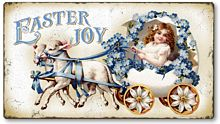Item 3148 Vintage Style Easter Lambs Plaque