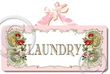 Item 3161 Pink Vintage Cottage Style Laundry Plaque