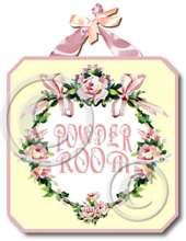 Item 4061 Powder Room Pink Roses Plaque