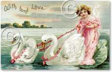 Item 52 Victorian Angel & Swans Valentine Plaque