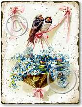 Item 705 Vintage Victorian Style Love Birds Sign
