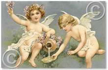 Item 81 Victorian Angels and Violets Plaque