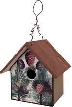 Item BB155 EarlyBird Bungalow Pine Cones Design Rustic Bird House