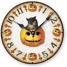 Item C1553 Halloween Pumpkin Owl Clock