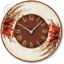 Item C2024 Vintage Style Autumn Leaves Clock