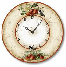 Item C2042 Vintage Style Birds with Cherries and Strawberries Clock