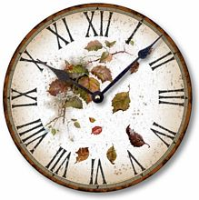Item C6013 Rustic Vintage Style Leaves Clock