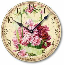 Item C6017 Victorian Style Basket of Roses Clock