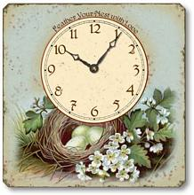 Item C6024 Vintage Style Bird's Nest Tabletop Clock