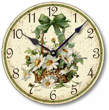 Item C6030 Victorian Style Basket of Daisies Clock