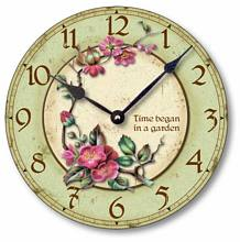 Item C7003 Vintage Style Clock - Time Began in a Garden