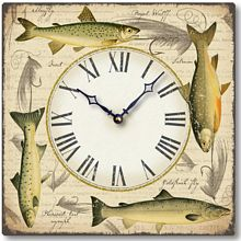Item C8214 Fishing Flies and Fish Clock