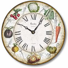 Item C8216 Vintage Style 12 Inch Vegetable Garden Clock