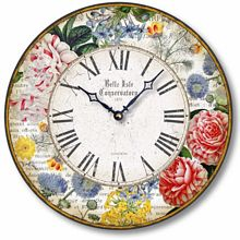 Item C8308 Antique Floral Botanicals Clock