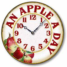 Item C8904 Casual An Apple a Day Kitchen Clock