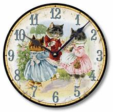 Item C9005 Three Kittens Vintage Style Clock