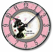 Item C9006 Fifties Retro Pink Poodle Clock