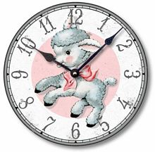 Item C9007 Retro 1950s Style Lamb Child's Clock